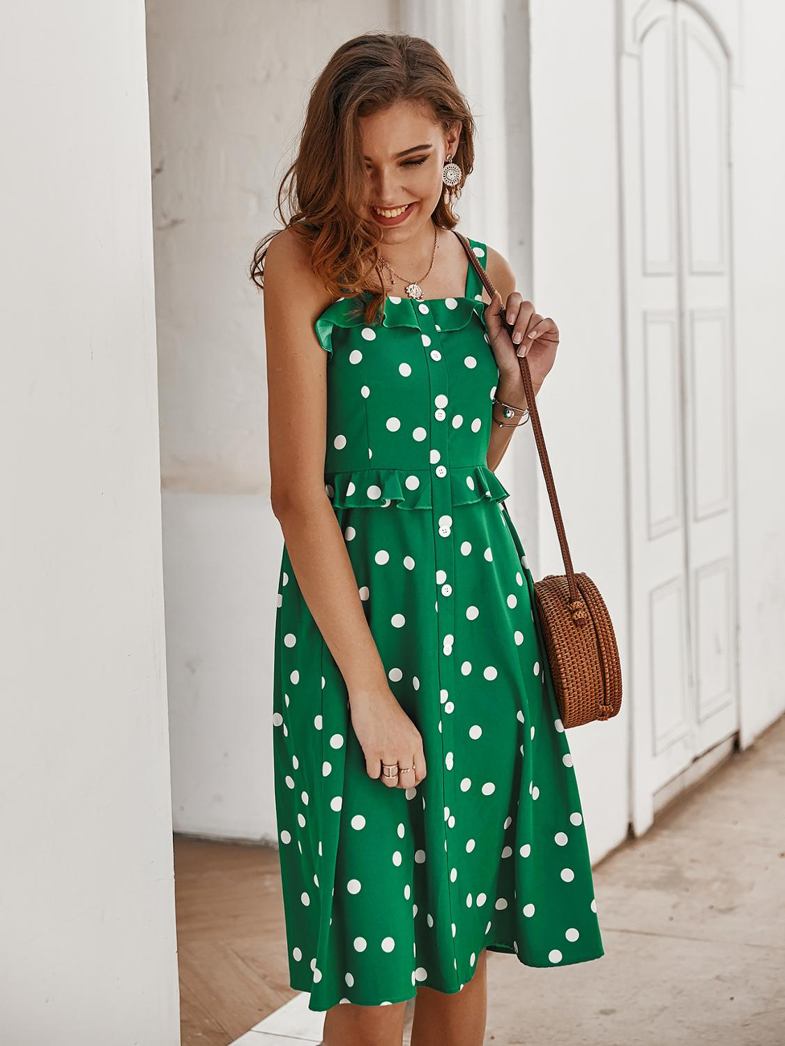 2020 Spring Summer New <font><b>dress</b></font> original design Strap Polka Dot Lightly Cooked women <font><b>dress</b></font> image