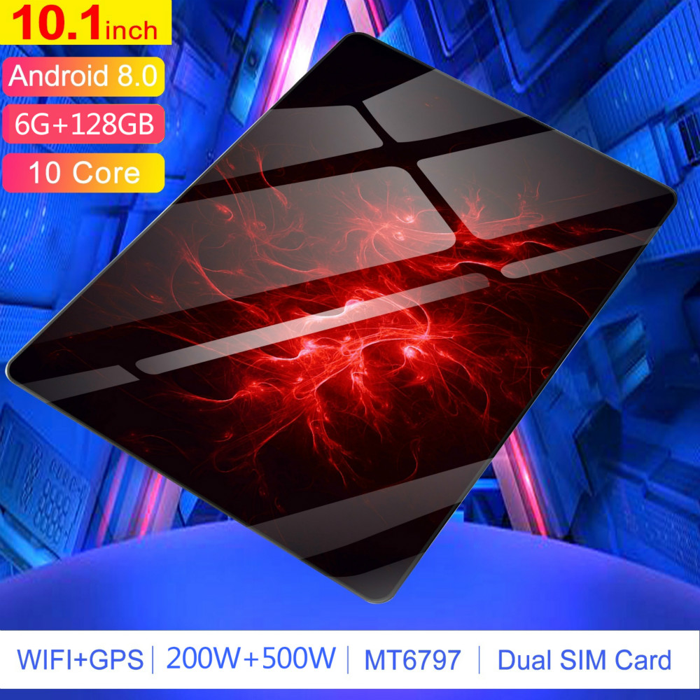 Android 8.0 Tablet With 6GB+128GB Memory 4G Phone Call Tablet 10.1 Inch  WiFi Tablet PC Support Dual SIM Card 10 Core Tablet