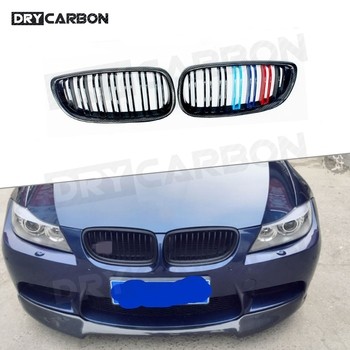 For BMW E92 LCI E93 318i 320i 328i 335i Carbon ABS Material Front Bumper Kidney Twin Fins Sport Racing Grill Grille Coupe 2 Door image
