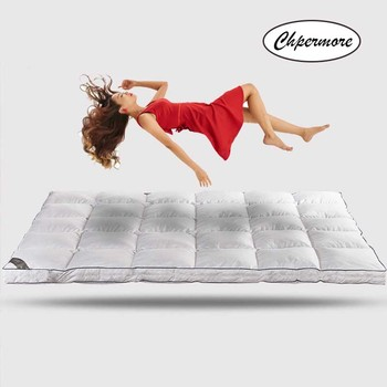 Chpermore 100% White goose down feather Mattress 10cm Five-star hotel thickening Tatami Cotton Cover  King Queen Size - discount item  35% OFF Home Furniture