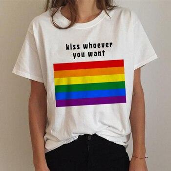 Футболка Harajuku для ЛГБТ, женская футболка для геев, радужная футболка для лесбиянок, смешная футболка Ullzang, футболка 90s Graphic Love Is Love Tees