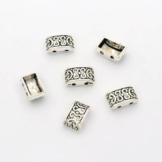 20pcs 16x6x6mm Beads Bails Pendants Jewelry Making DIY For 1cm PU Leather Bracelet Big Hole Beads Findings Hole Size 11x2mm