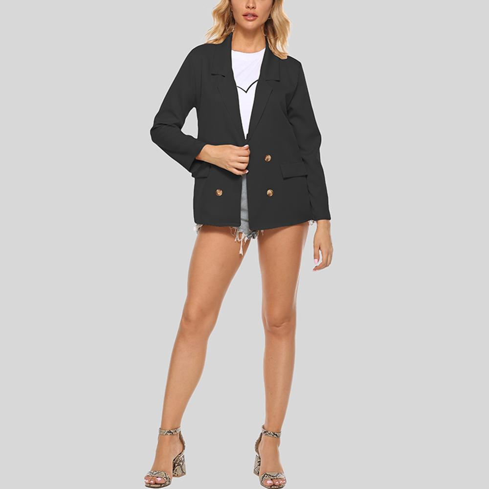 Women's lapel Blazer Solid Color Simple Fashion Commute Elegant Small Suit Female Spring-autumn Casual Coat Black