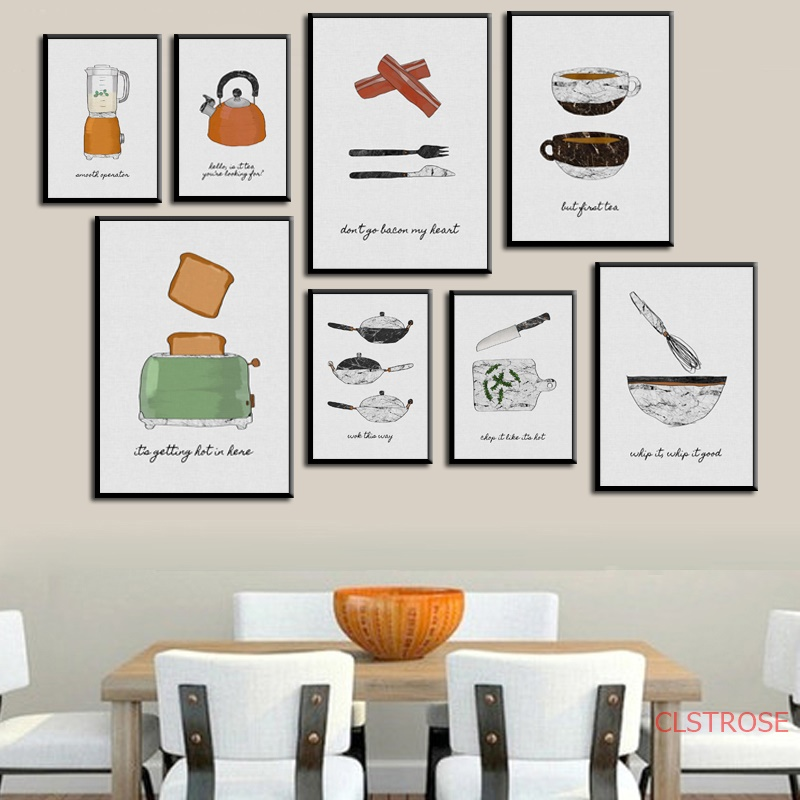 Watercolor Food Cake Coffee Fruits Quotes Posters Prints Nordic Style Kitchen Cafe Wall Art Pictures Home Decor Canvas Painting