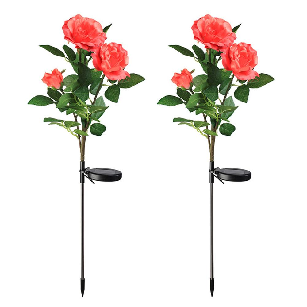 2pcs Outdoor Solar Powered LED Light Waterproof Rose Flower Stake Lamp Easy-to-Install For Home Garden Yard Lawn Path Decorate