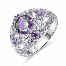 Criativo recorte anéis para mulheres de luxo feminino roxo cristal anel jóias moda senhoras festa jóias presentes