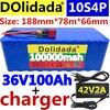 2020 original 36v bateria 10s4p 100ah bateria 1000w bateria de alta potência 42v 100000mah ebike bicicleta elétrica bms + 42v2a carregador