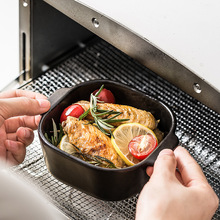 INS керамическая миска для выпечки в северно-европейском стиле с двойной ручкой, посуда для приготовления пищи, простая запеченная миска для риса и блюдо для домашнего использования