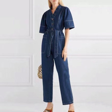 Women Denim Jumpsuits High Waist Sashes Tunic Causal Jeans Jumpsuits