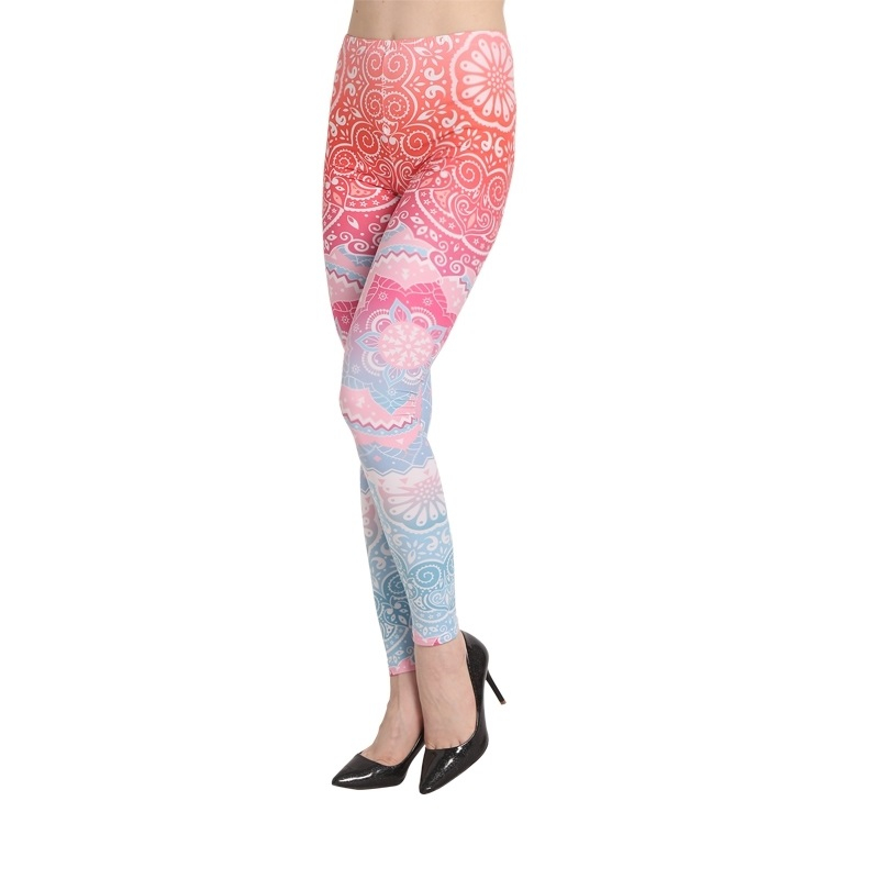 Casual Leggings Women Fitness Workout Aztec Round Ombre Printing Legging Sexy 3d Print High Waist Elastic Stretch Trousers Pants