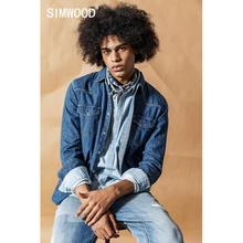 SIMWOOD 2019 Autumn New Denim Shirts Men Casual snap button 100% cotton shirt plus size quality brand clothing 190407