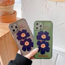 Funda de teléfono de lujo con flores para iPhone, carcasa trasera de TPU suave con pintura de flores para iPhone 11 12 Por Max XR X 7 8 Plus SE