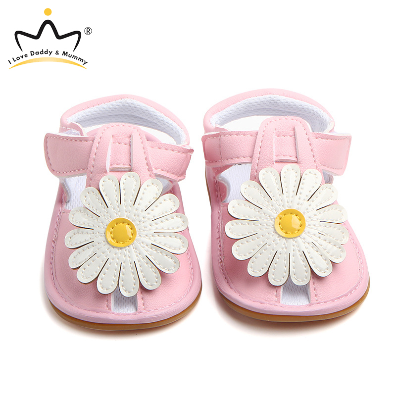 Summer New Cute Big Flower Baby Girl Sandals Soft PU Leather Anti Slip Rubber Sole Baby Sandals Princess Toddler Girls Shoes