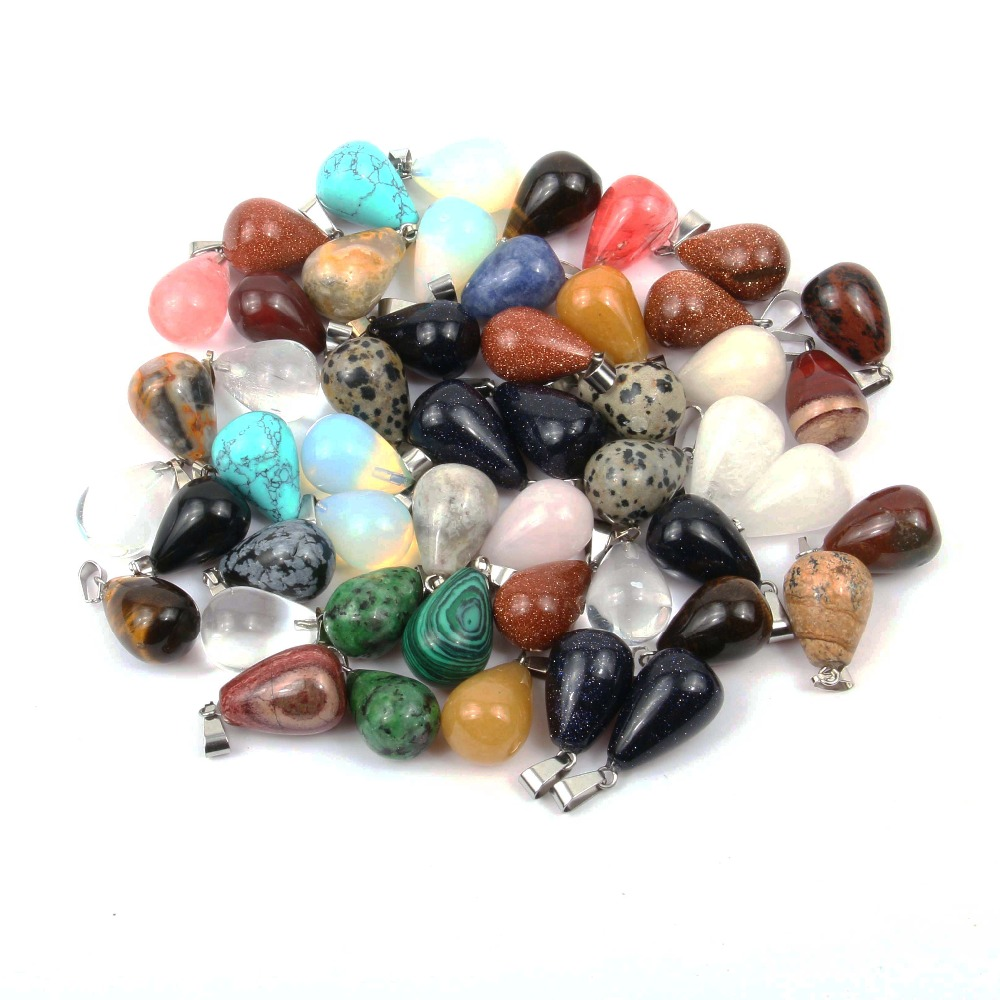 <font><b>12</b></font> PCS Natural Stone Pendant Water Drop Shape Pendants Pink Crystal/Tiger Eye Charms for Necklaces Jewelry Making 13*18 <font><b>mm</b></font> image