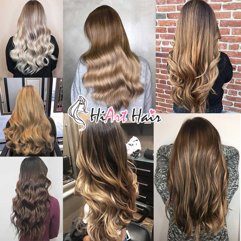 "HiArt 140g קליפ שיער הרחבות מפעל כפול נמשך קליפ שיער קל ללבוש מלא ראש בלתי נראה ישר הארכת שיער 18 ""-22"""