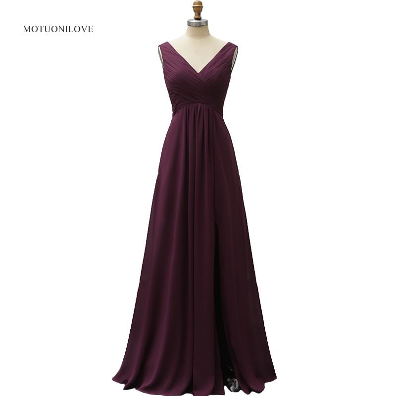 Élégant violet Sexy robes De soirée sur mesure formelle robes De soirée sans manches col en V Split bal De promo porter des robes De Festa