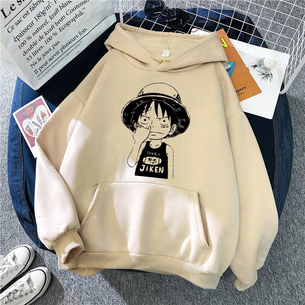 Мужские худи с принтом Луффи из аниме One Piece, Японская уличная одежда, простое модное худи, флисовый Свободный пуловер с круглым вырезом на ос...