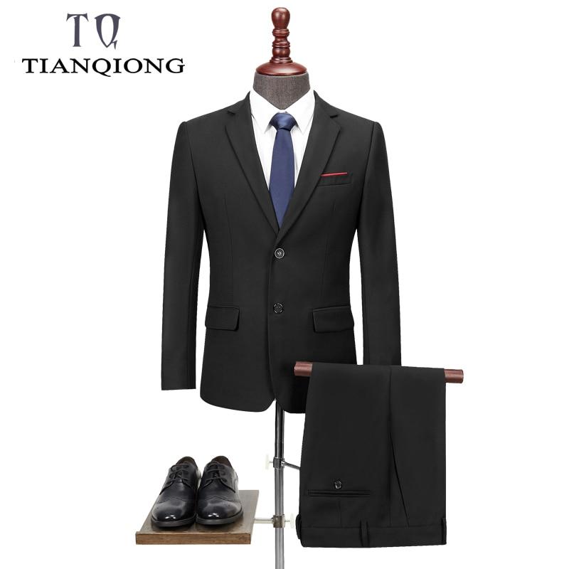TIAN QIONG New Men 's Suit Two -piece Black Navy Suits Men 2019 Brand Slim Fit Groom Wedding Suit Korean Jacket Pants Trousers
