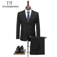 TIAN QIONG New Men 's Suit Two piece Black Navy Suits Men 2019 Brand Slim Fit Groom Wedding Suit Korean Jacket Pants Trousers