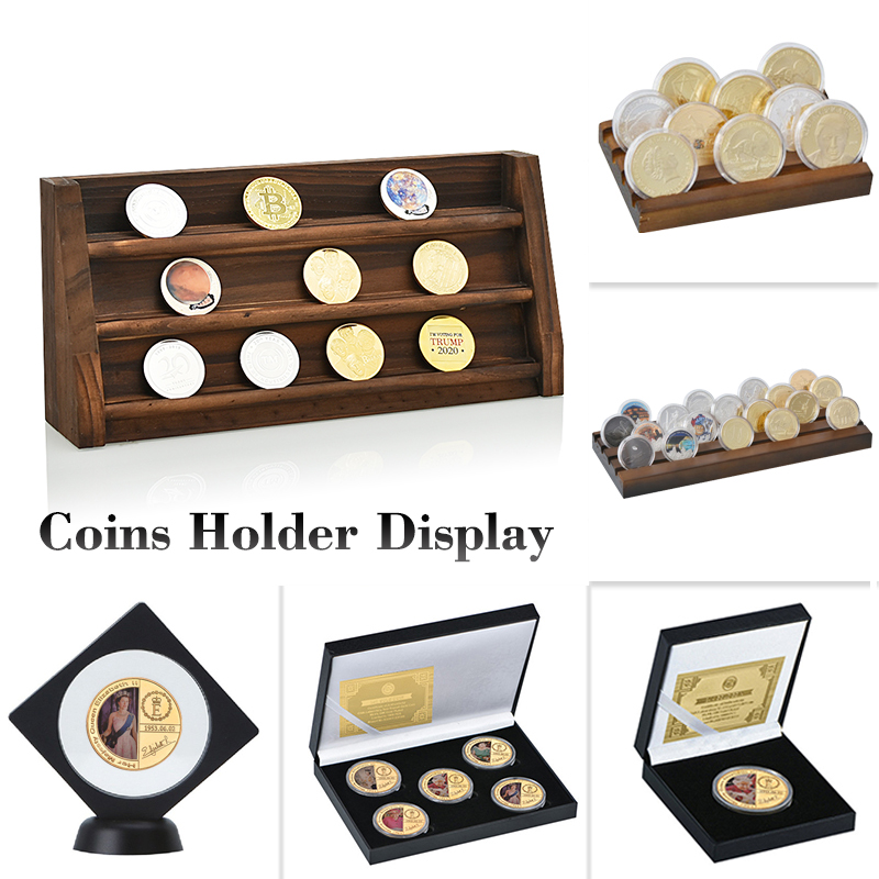7 Styles Quality Collectible Coins Holder Display Challenge Medal Album Coin Case Collector Wood Storage Shelves Gift For Men