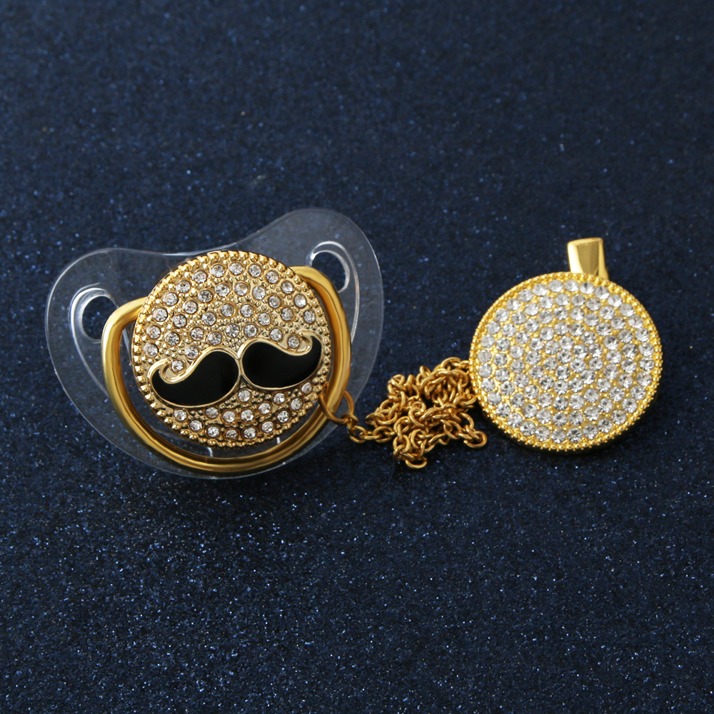 Bling Moustache Baby Pacifier Fashion Shiny Crystal Pacifier Safe Baby Gift