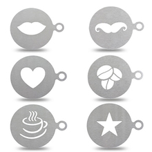 цена на Coffee Stencil Stainless Steel Cake Decorating Stencil Hollow Baking Coffee Printing Template Heart Shaped Stencils