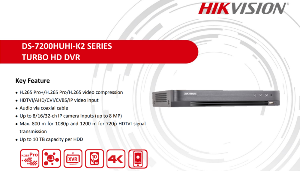 Hikvision Hybrid 4ch/8ch/16ch DVR DS-7204HUHI-K2 DS-7208HUHI-K2 DS-7216HUHI-K2 TURBO HD 5 IN 1 Security DVR For Analog Camera