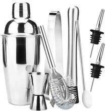 Нержавеющая сталь шейкер бар набор инструментов с мартини миксер двойной мерный стаканчик/Ложка для смешивания/ликера Pourers/Muddler/Str