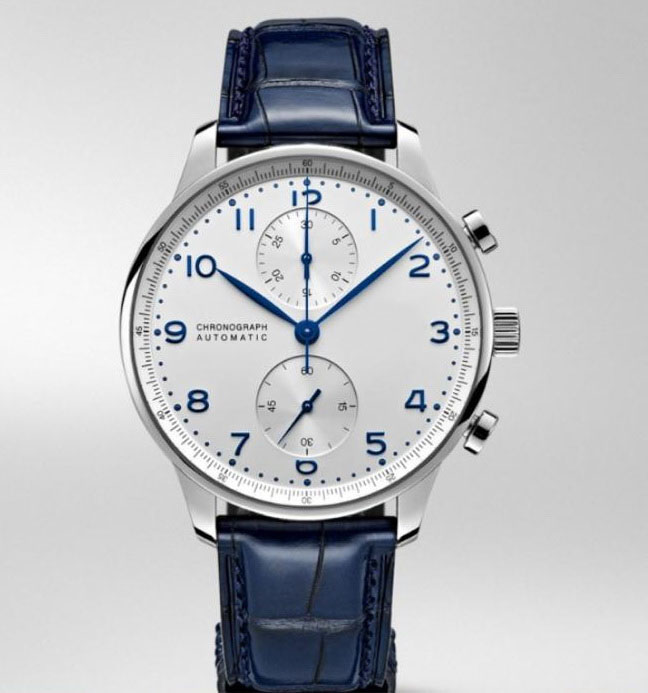 Luxury Brand New Chronograph Men Watch Stopwatch Sapphire Watches Silver Blue Leather Sport Limited White Dial Watch AAA+