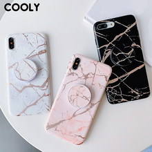 COOLY Plating Marmer Case Voor iphone X XS Max XR 6 S 6 S 7 8 Plus Back Cover op roze Wit IMD Siliconen Telefoon Coque Houder Stand(China)