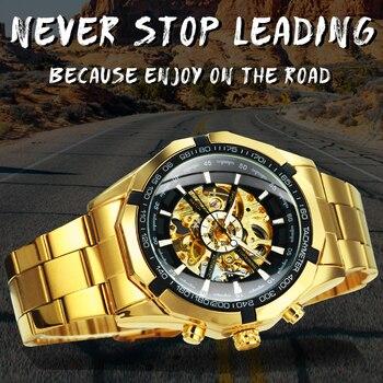 Winner Watch Men Skeleton Automatic Mechanical Watch Gold Skeleton Vintage Man Watch Mens Watches Top Brand Luxury часы мужские 2