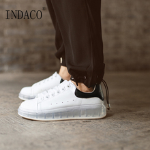 Women Sneakers Fashion White Shoes Leather Trainers Platform 3.5m