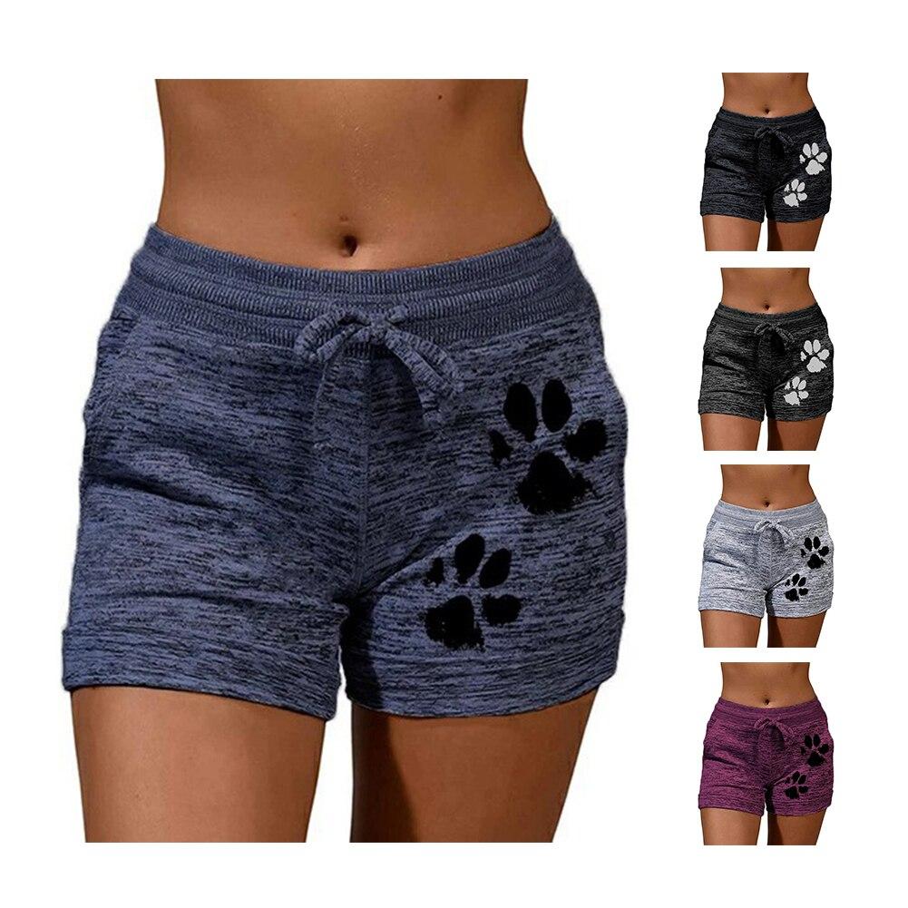 Woman shorts Women High Waist Cats Claw Print  2