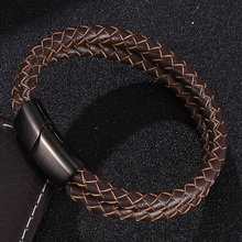 Fashion Brown Braided Leather Double Layer Bracelet Men Jewelry Stainless Steel Magnetic Clasp Bangles Male Wrist Band Gifts