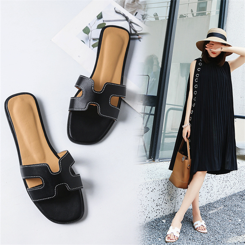 2020 Slipper Women's Summer Fashion Outer Wear Flat Line-styled White Sandals Seaside Holiday Sandals