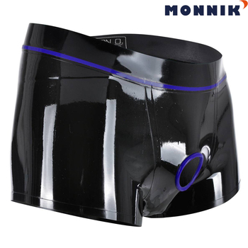MONNIK latexSexy Lingeriesexy Lingerie Latex Underpants With Holes In Crotch And Hose Safety Pants