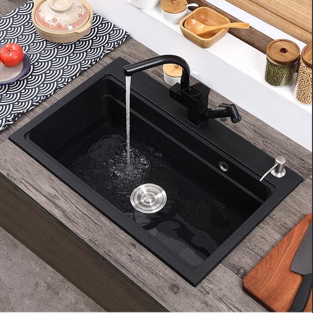 Фото кухонная раковина из кварцевого камня полностью отлитая черная цена