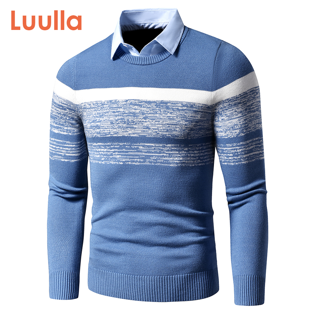Men 2020 Autumn Winter Casual Brand New Warm Sweater Pullovers Turn Down Shirt Collar Men Knit Pattern Outfits Sweater Coat Men