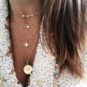 Glamour Necklace 2020 Fashion New Temperament Star Round Coin Meteor Pendant Multilayer Ladies Combination Necklace Gift