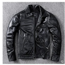 Biker-Leather Jacket.quality Sheepskin Coat.fashion Black YR Soft Plus-Size