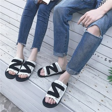 Trend Cool Slippers Men Slippers Outside Wear Non-slip Outdoor One Word Drag Sandals Sandals Thick Bottom Slippers 2019 new trend embroidery word drag men outside wearing damp slippers anti slip wear thick bottom home bathroom slippers