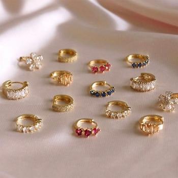 Fashion Colorful Crystal Small Hoop Earrings Clear CZ Geometric Circle Huggie Earrings For Women Jewelry 1