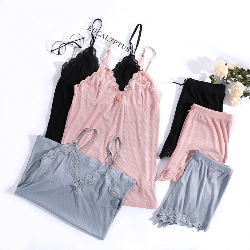 Women Pajamas V-neck Sleepwear Sexy Set Pijama Silk Nightwear Lace Homewear Strap Sleep Lounge Pyjama