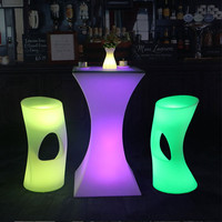 New Rechargeable LED Luminous cocktail table IP54 waterproof Round glowing led bar table Outdoor Furniture for bar kTV disco