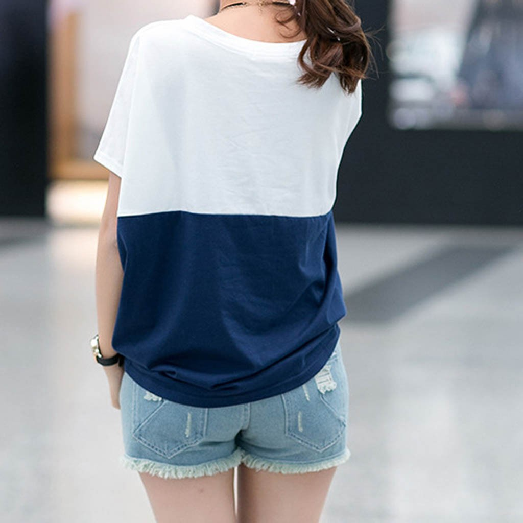Fashion Patchwork Tunic Tops For Women Summer O-neck Short Sleeve Shirts Loose Blouses Casual Women Clothing Блузка Женская 2021 3
