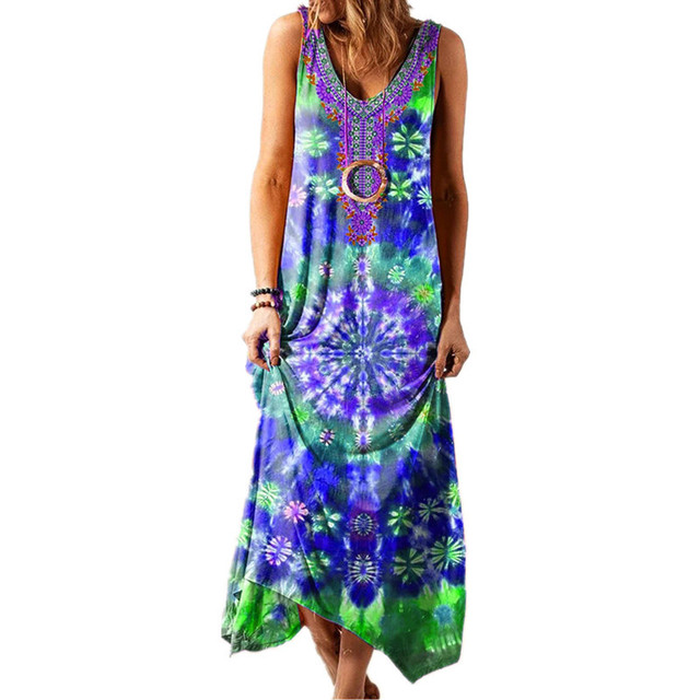 Summer Long Skirt New Ethnic Style Loose Printed Vest One-piece Long Skirt Fashionable Sexy Bohemian Dress 2