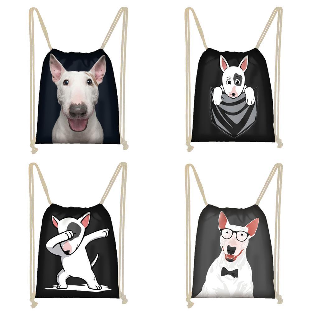 Twoheartsgirl Black Bull Terrier Women Girls Drawstring Bag Backpacks Cute Children Kids Backpack Stylish Travel Storage Bags