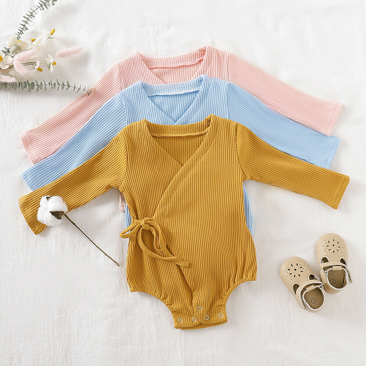 2019 Baby New Autumn Clothing Newborn Infant Baby Girl Boy Solid Kimono Jumpsuits Ribbed Solid Cotton Soft Bodysuit Outfits