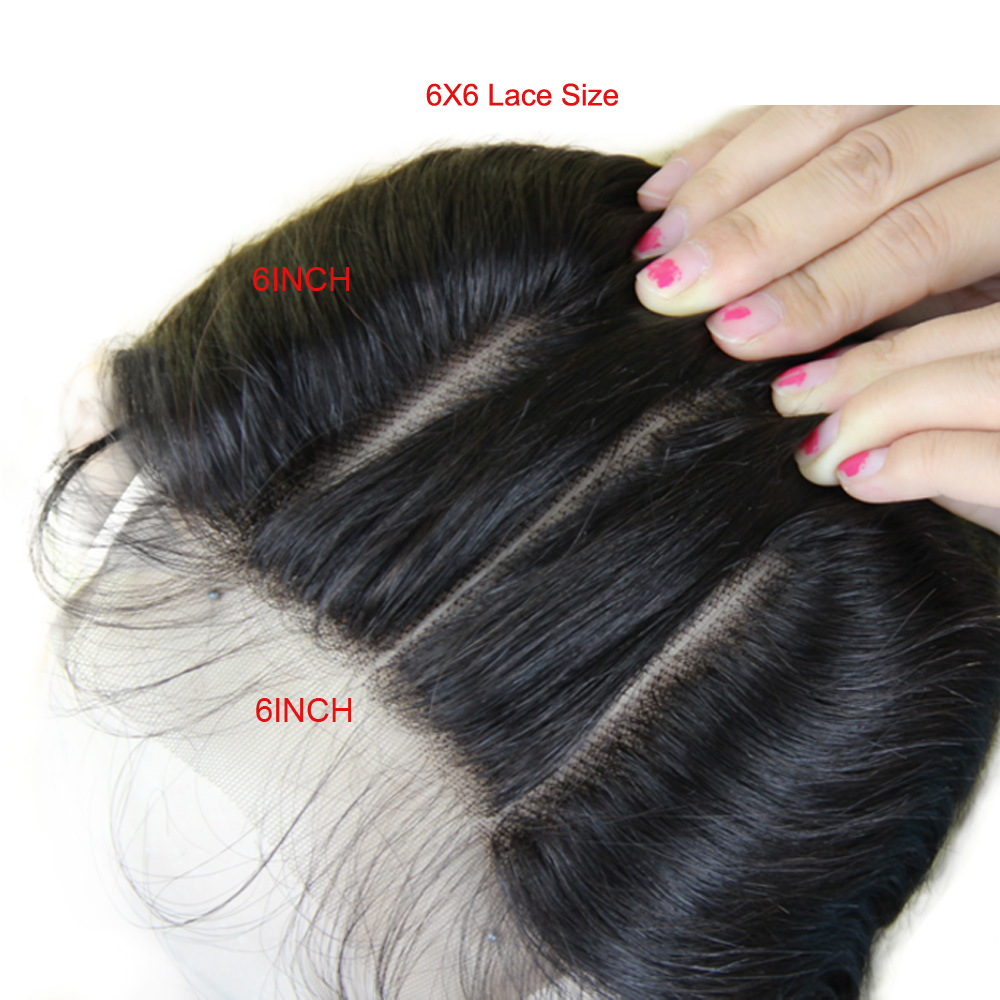Peruvian Straight Lace Closure Bleached Knots 6X6 Lace Closures Virgin Hair Pre Plucked 5X5 Closure Middle Part Closure Piece