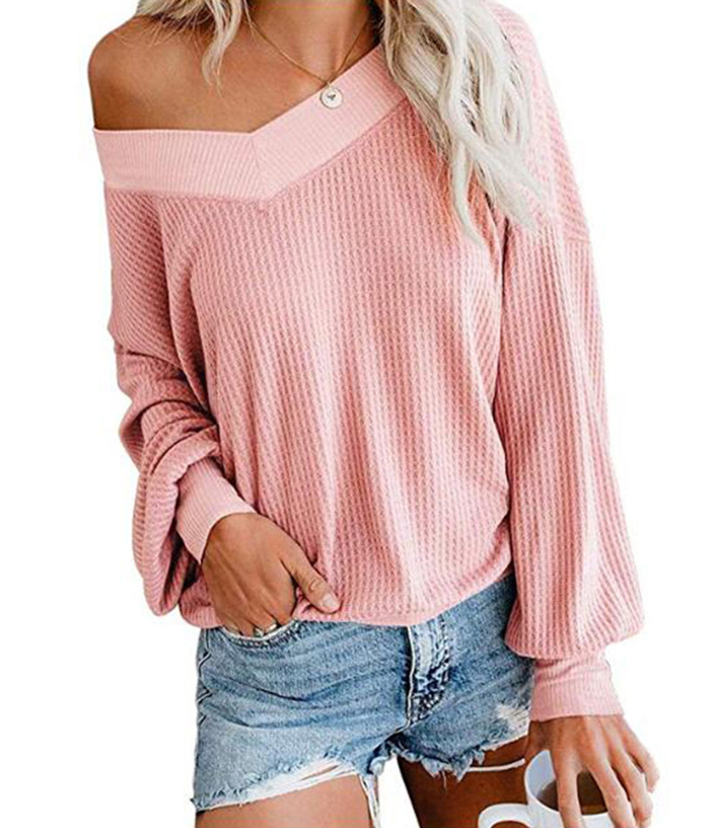 Sexy Off Shoulder V Neck Long Sleeve Pink Knitted Sweaters Top  Autumn Winter New Women Solid Casual Loose Pullovers 9 Color